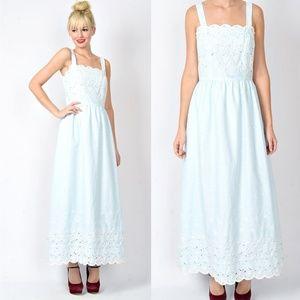 Vintage 70s Blue Lace Floral Daisy Boho Maxi Dress